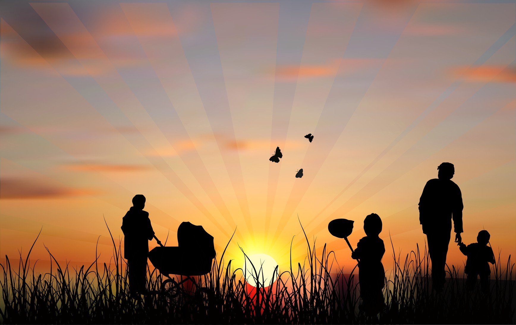 illustration with family silhouette at sunset